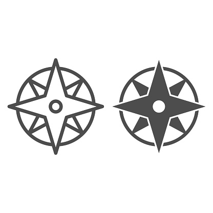 Compass line and solid icon, Navigation concept, Wind rose sign on white background, old-style wind rose compass icon in outline style for mobile concept and web design. Vector graphics.
