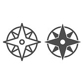 istock Compass line and solid icon, Navigation concept, Wind rose sign on white background, old-style wind rose compass icon in outline style for mobile concept and web design. Vector graphics. 1240900962