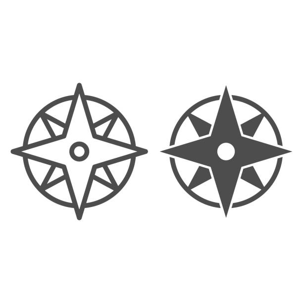 Compass line and solid icon, Navigation concept, Wind rose sign on white background, old-style wind rose compass icon in outline style for mobile concept and web design. Vector graphics. Compass line and solid icon, Navigation concept, Wind rose sign on white background, old-style wind rose compass icon in outline style for mobile concept and web design. Vector graphics east stock illustrations