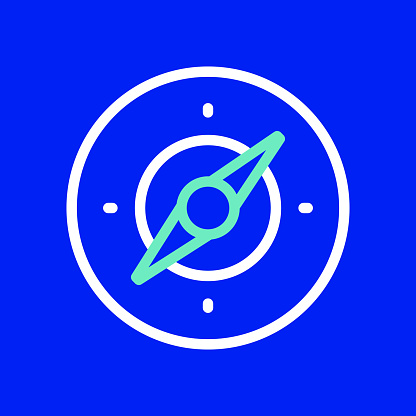 Compass Line Icon. Editable Stroke. Simple Outline Icons.
