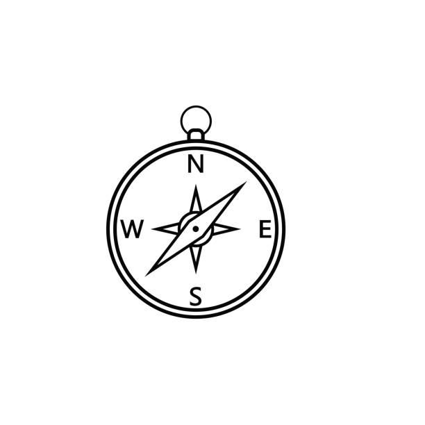 Kompass Liniensymbol, Navigation und Reisen – Vektorgrafik