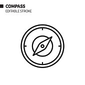 istock Compass Line Icon, Outline Vector Symbol Illustration. Pixel Perfect, Editable Stroke. 1190472752