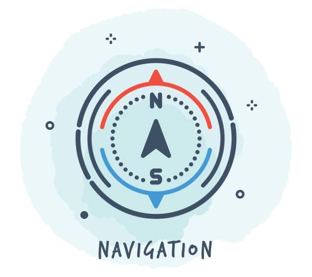 stockillustraties, clipart, cartoons en iconen met kompas lijn pictogram - zuid