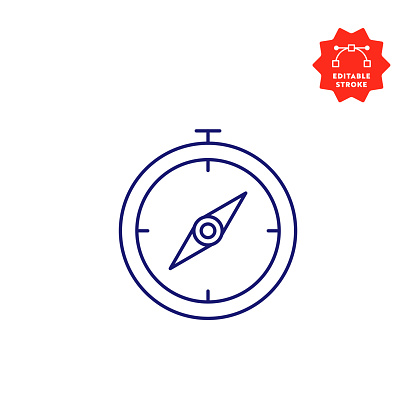 Compass Line Icon with Editable Stroke and Pixel Perfect.