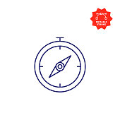 Navigational Compass Icon with Editable Stroke and Pixel Perfect.