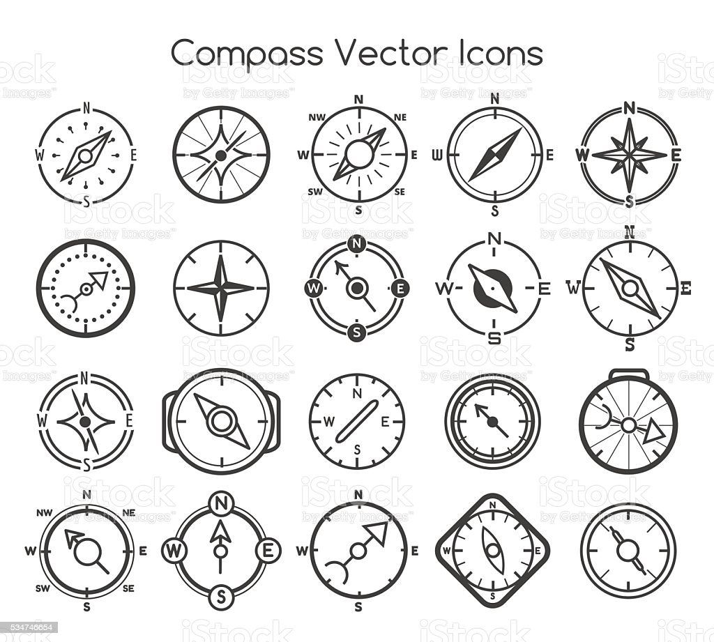 Compass line icons vector art illustration