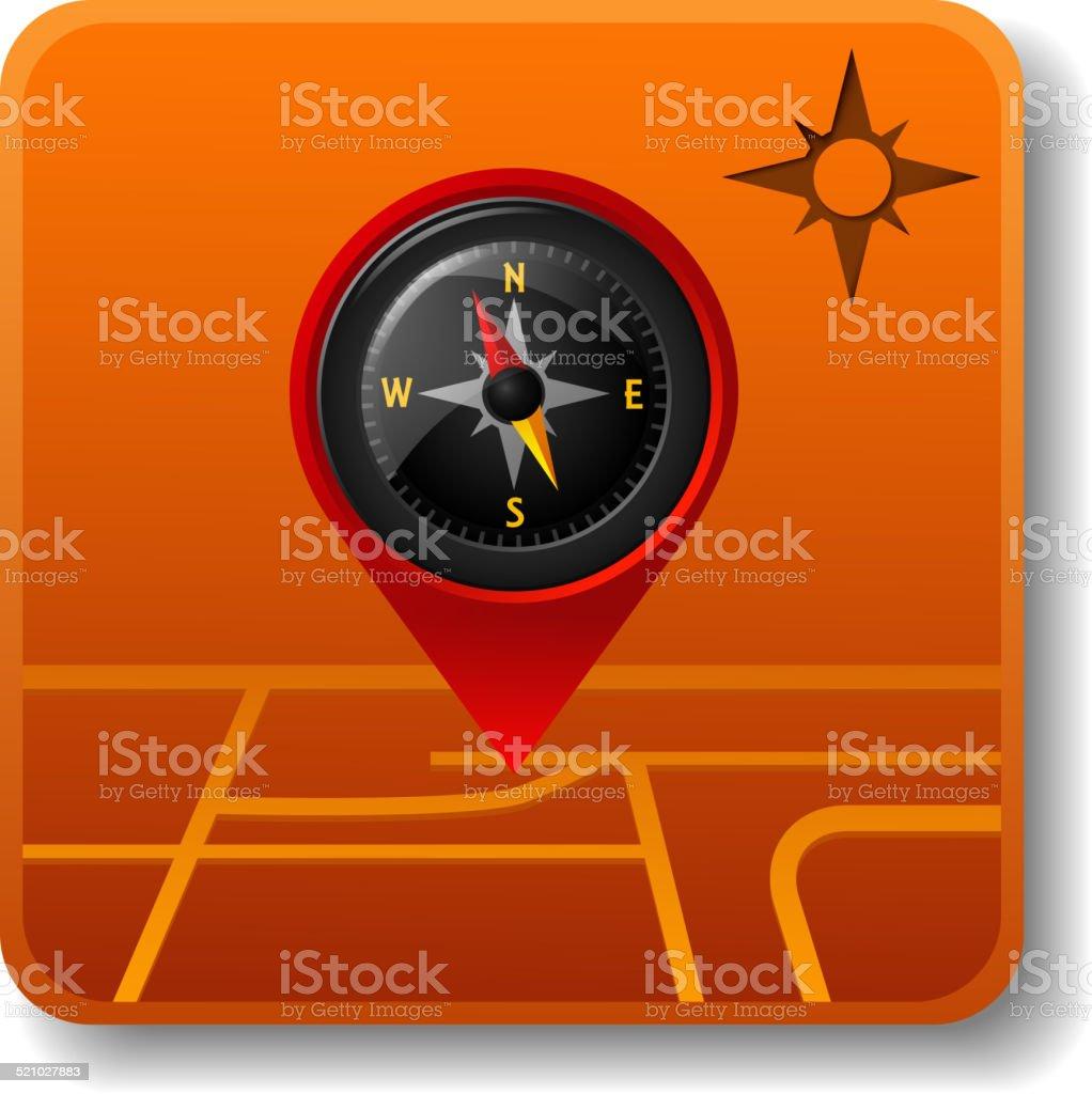 Compass Map Icon vector art illustration