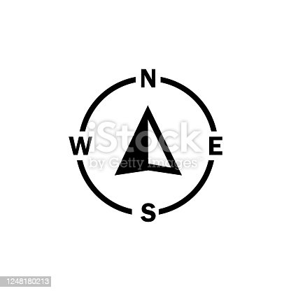 Compass navigator arrow icon on isolated white background. Eps 10 vector