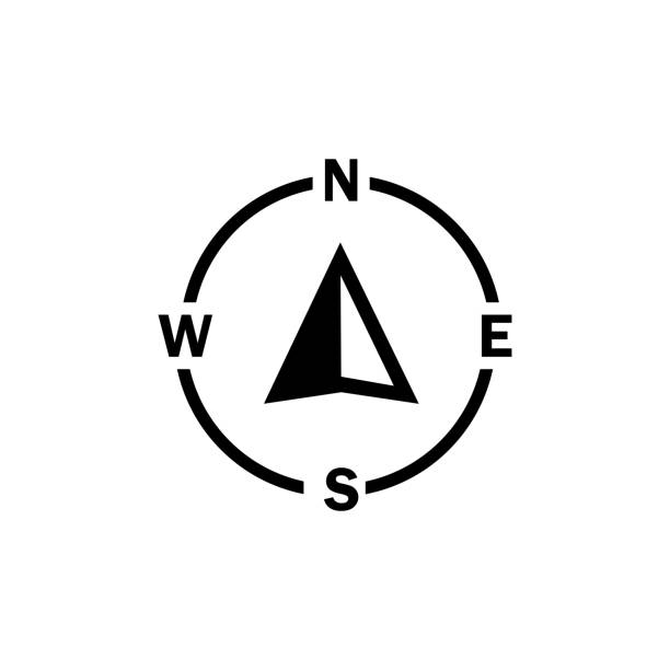 Compass navigator arrow icon on isolated white background. Eps 10 vector Compass navigator arrow icon on isolated white background. Eps 10 vector nautical tattoos stock illustrations