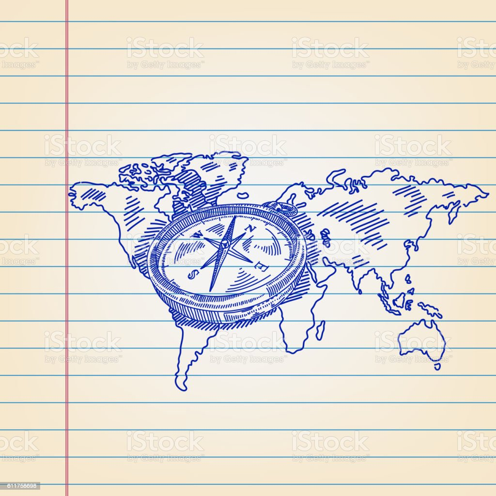 Compass On World Map Drawing On Ruled Paper Stock Illustration