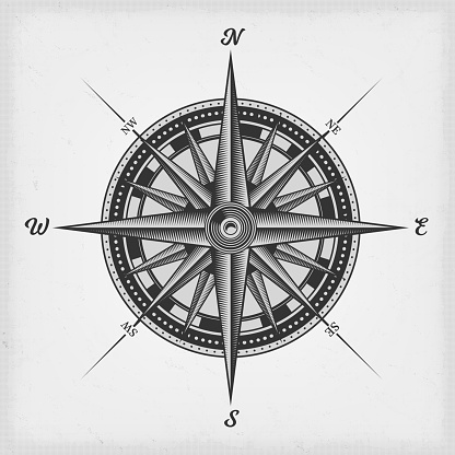 Illustration of a black and white nautical compass rose on vintage old textured background