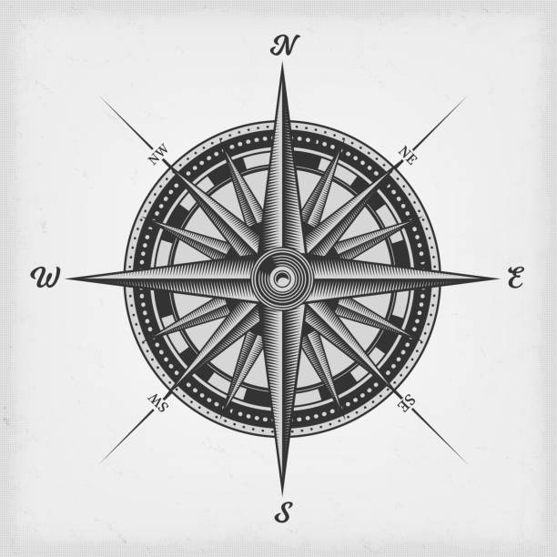 compass rose black and white - compass stock illustrations