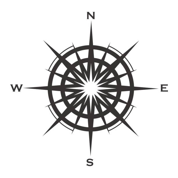 Compass rose icon isolated on white Compass rose icon isolated on white background. Wind rose vector illustration. wild rose stock illustrations
