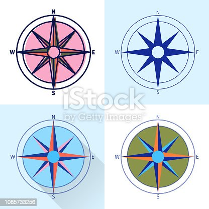 Compass rose icon set in flat and line styles. Wind rose isolated. Marine ship equipment colorful illustration.