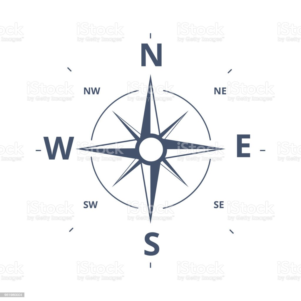 Compass Rose Icon Vector Logo Template. Wind rose retro design concept for exploration, tourism and traveling.