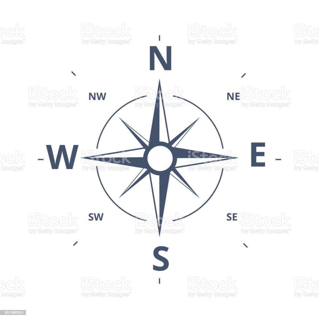 Compás Rose icono Vector Logo plantilla. Concepto de diseño retro rosa de los vientos para la exploración, el turismo y viajar. - ilustración de arte vectorial