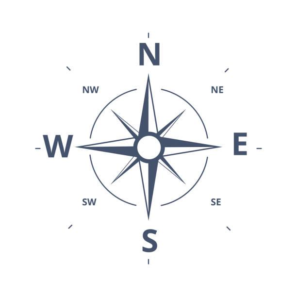 compass rose icon szablon logo wektora. wind rose retro koncepcja projektowania dla eksploracji, turystyki i podróży. - compass stock illustrations
