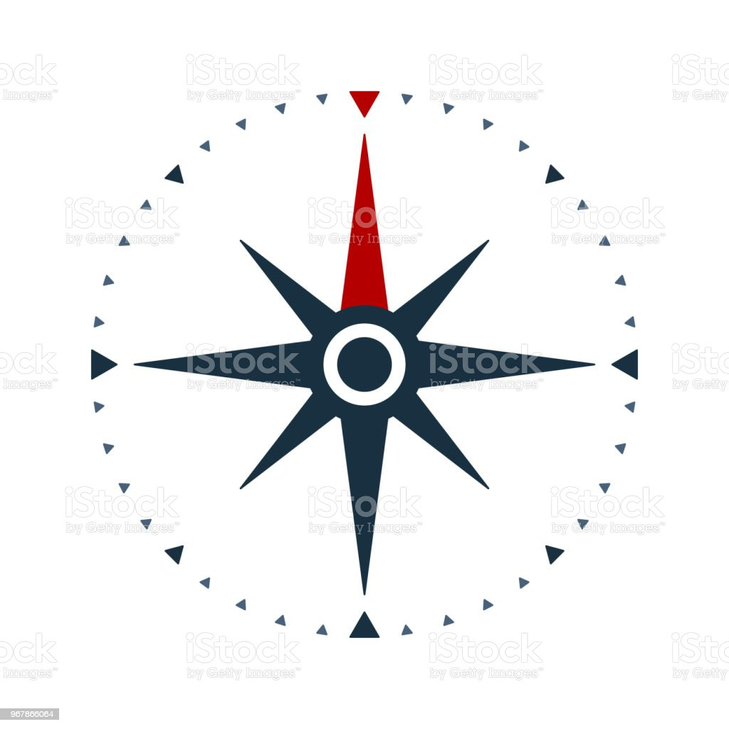 Compass rose icon, wind rose and navigation symbol vector art illustration