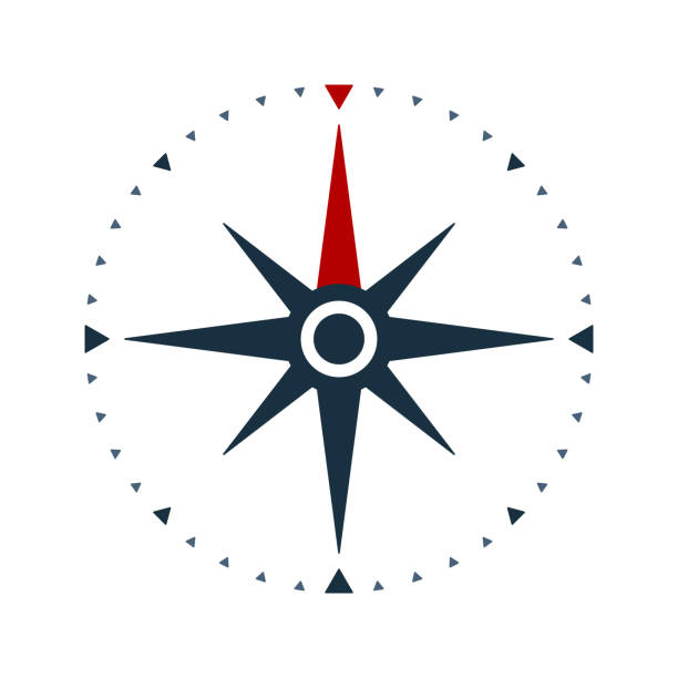 compass rose icon, wind rose and navigation symbol - compass stock illustrations