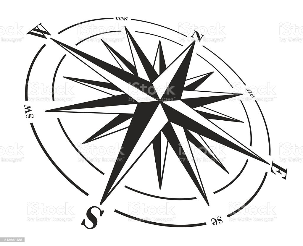 Compass rose isolé sur fond blanc. - Illustration vectorielle