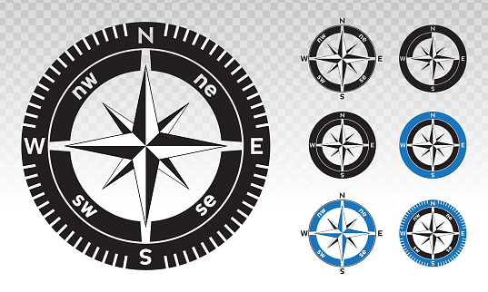 Compass rose or wind rose vector flat icon on a transparent background.