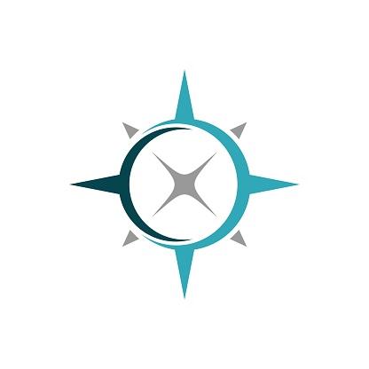 Compass Rose Swoosh Logo Template Illustration Design. Vector EPS 10.