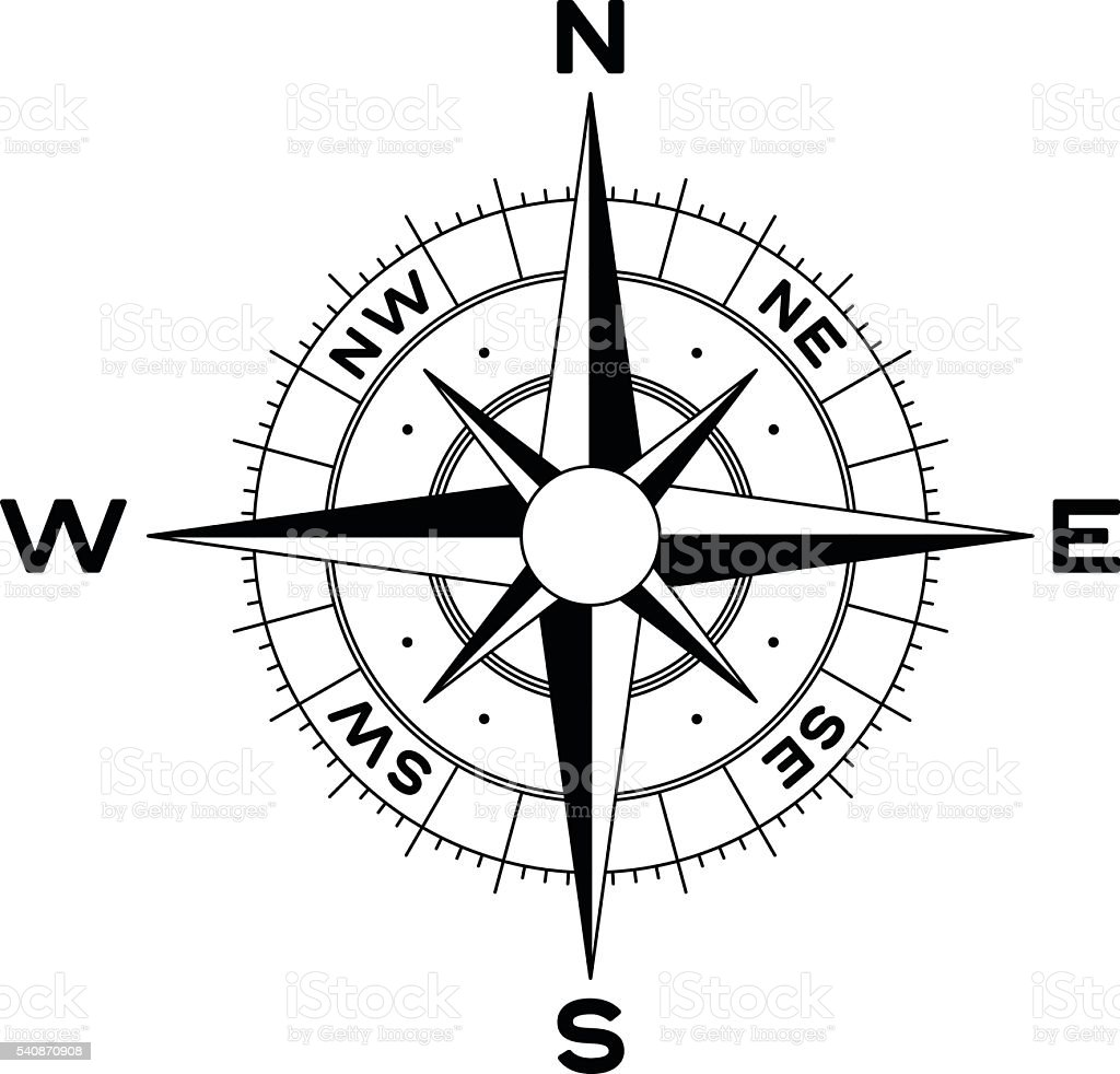 compass rose stock vector art & more images of black color 540870908
