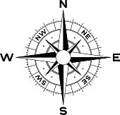 Compass rose symbol concept with directions. EPS 10 file.