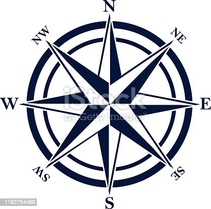 Compass rose with eight abbreviated initials. Blue navigation and orientation symbol.