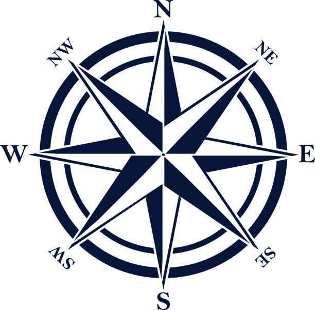 stockillustraties, clipart, cartoons en iconen met kompas steeg met acht verkorte initialen. blauwe navigatie en oriëntatie symbool. - zuidoost