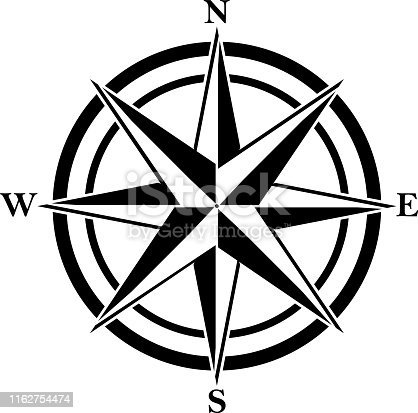 Compass rose with four abbreviated initials. Black navigation and orientation symbol.