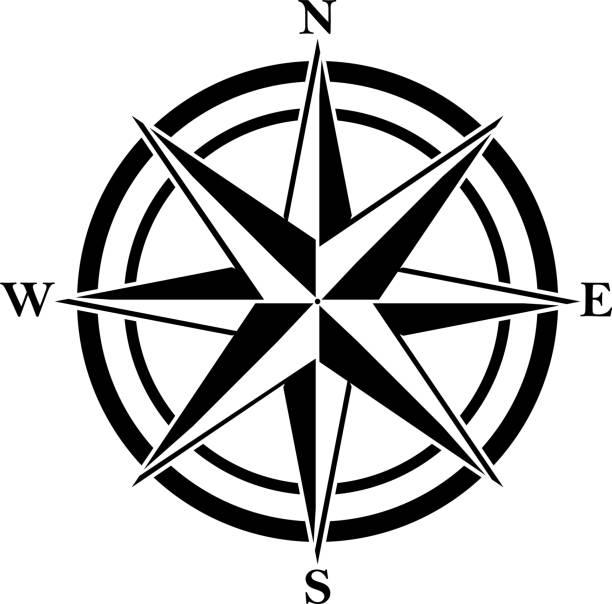 stockillustraties, clipart, cartoons en iconen met kompas steeg met vier verkorte initialen. zwarte navigatie en oriëntatie symbool. - zuidoost