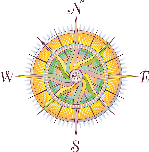 Compass Rose with Twirl vector art illustration