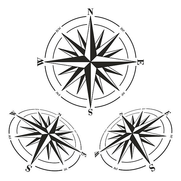 Compass roses set isolated on white. ベクターアートイラスト