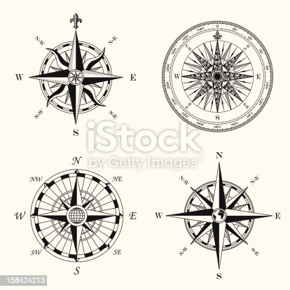 Set of Compass Roses.