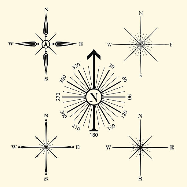 Compass roses Five different decorative compass roses for use on maps.  north stock illustrations