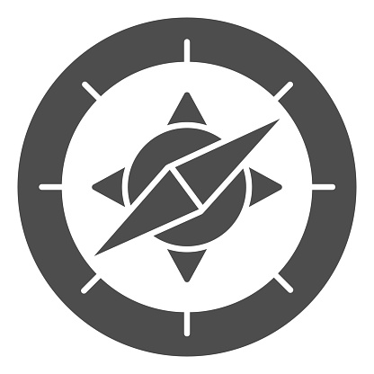 Compass solid icon, Navigation concept, Navigator on white background, wind rose compass icon in glyph style for mobile concept and web design. Vector graphics.