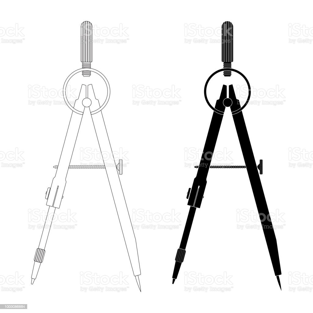 compass technical drawing tool outline and black silhouette stock