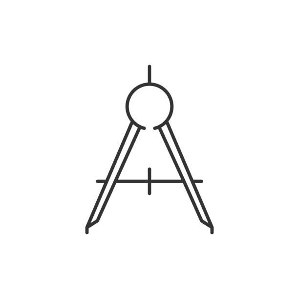 羅盤工具輪廓圖示向量藝術插圖