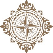 Stylized old compass. Easy to change colors.