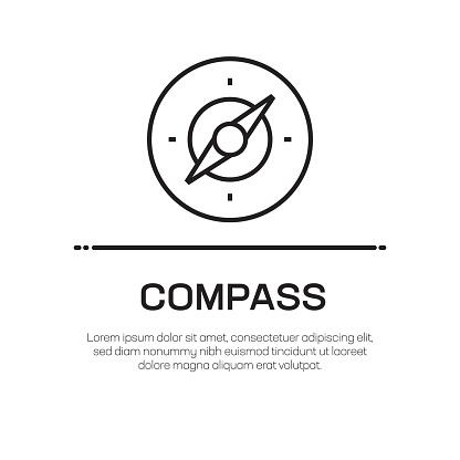 Compass Vector Line Icon - Simple Thin Line Icon, Premium Quality Design Element