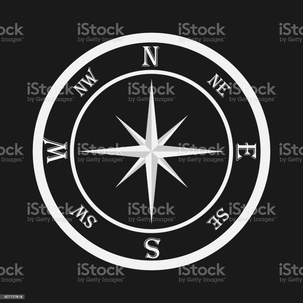 Compass White Compass On A Black Background Compass Icon Stock