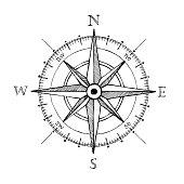istock Compass wind rose hand drawn vector design element 537491105