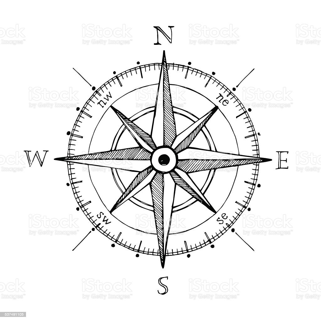 Compass vent rose dessiné à la main de vecteur élément de design - Illustration vectorielle