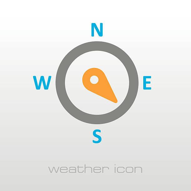 stockillustraties, clipart, cartoons en iconen met compass wind rose icon. meteorology. weather - zuidoost