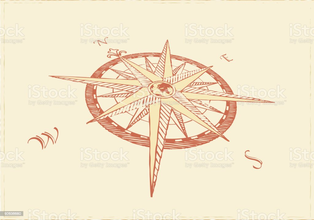 Compass Windrose vector art illustration