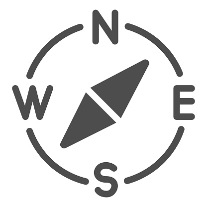 Compass with arrow directions solid icon. Navigator equipment glyph style pictogram on white background. Job search route navigation for mobile concept and web design. Vector graphics.