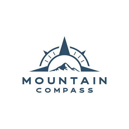Compass with mountain Vector Logo Template Illustration Design.  Stock illustration Indonesia, Navigational Compass, Mountain, Drawing Compass, Icon, Logo