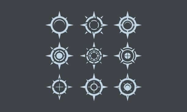 ilustraciones, imágenes clip art, dibujos animados e iconos de stock de vector de brújula de mundo logo icono - brújula