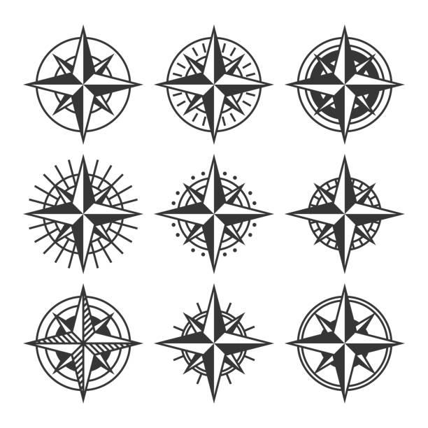 ilustrações de stock, clip art, desenhos animados e ícones de compasses with ornate dials set. wind rose icons. vector - compasso